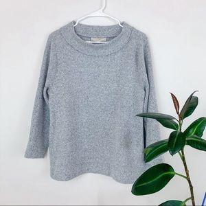 loft | gray cozy mock neck oversized sweater L